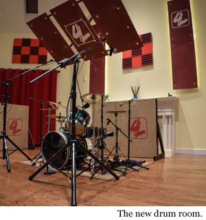 A shot of the drum room